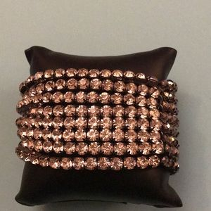 Crystal and beaded stretch bracelet